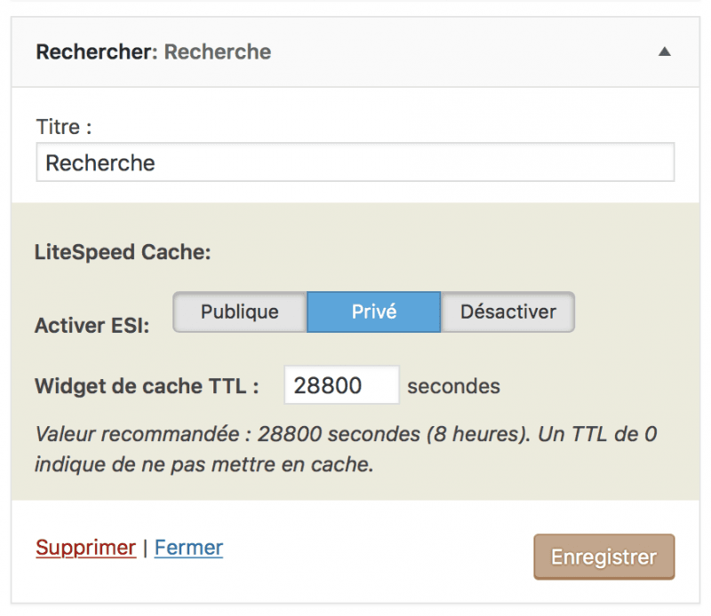 Gérer le cache d'un widget WordPress