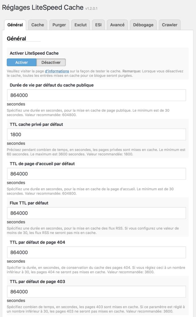 Page de configuration de LiteSpeed Cache dans l'interface administrateur de WordPress