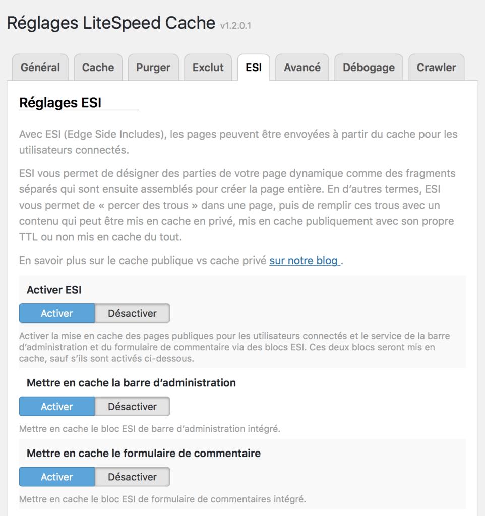 Cache ESI pour WordPress